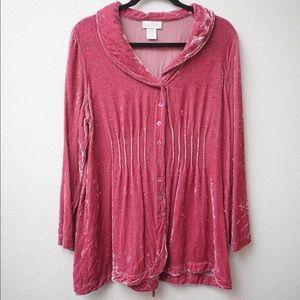 Soft Surroundings Crushed Velvet Pink Blouse SZ L